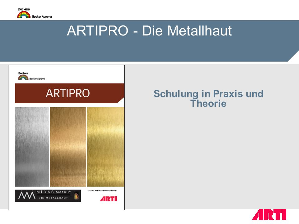 Schulung in Praxis und Theorie ARTIPRO - Die Metallhaut