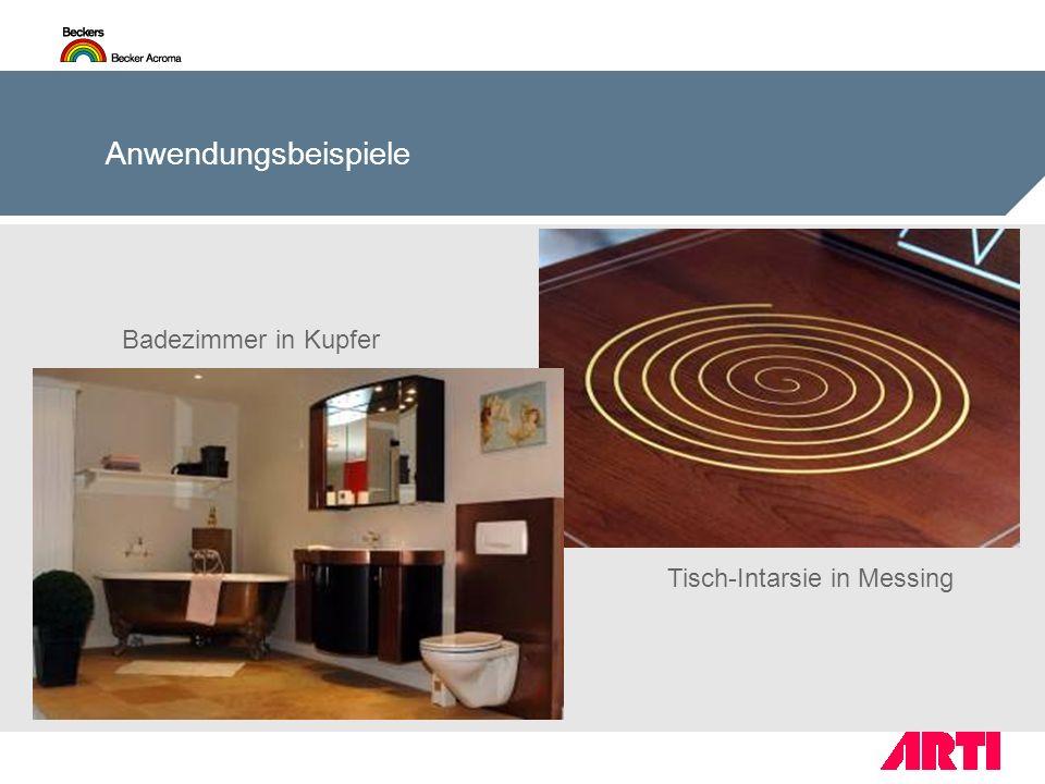 Badezimmer in Kupfer Tisch-Intarsie in Messing Anwendungsbeispiele