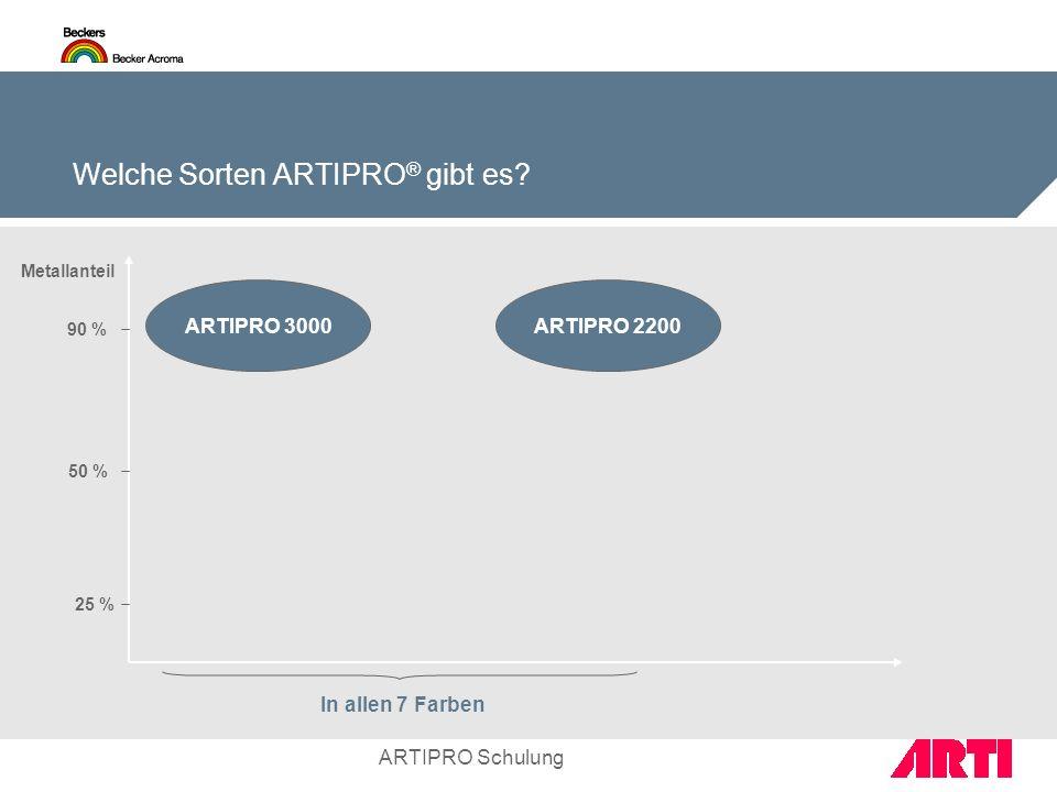 ARTIPRO Schulung Welche Sorten ARTIPRO ® gibt es? In allen 7 Farben ARTIPRO 3000 Metallanteil 90 % 50 % 25 % ARTIPRO 2200