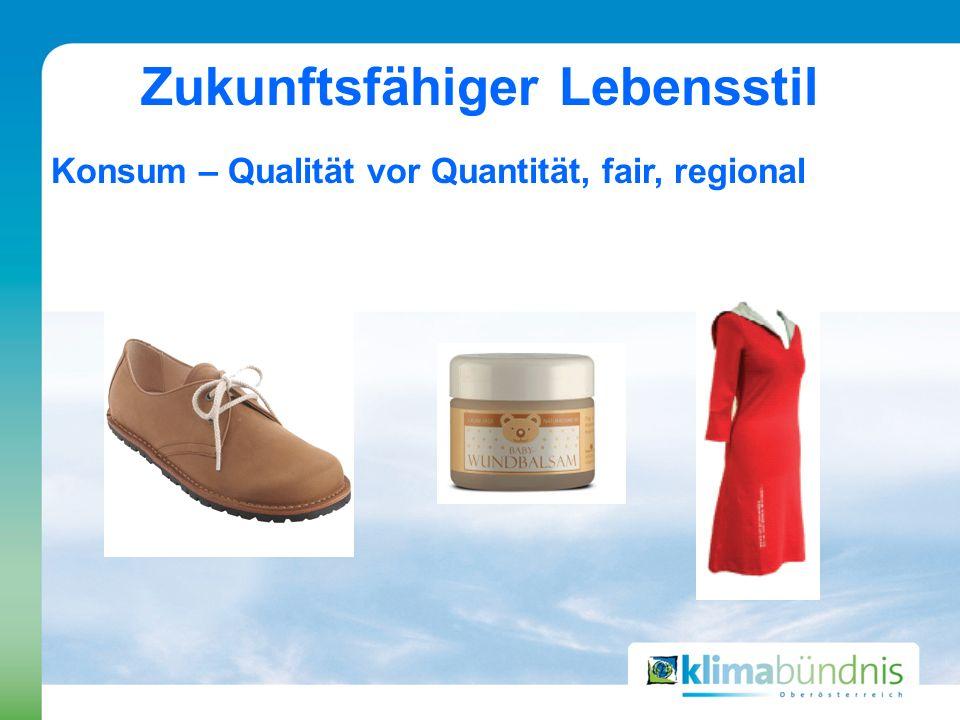 Zukunftsfähiger Lebensstil Konsum – Qualität vor Quantität, fair, regional