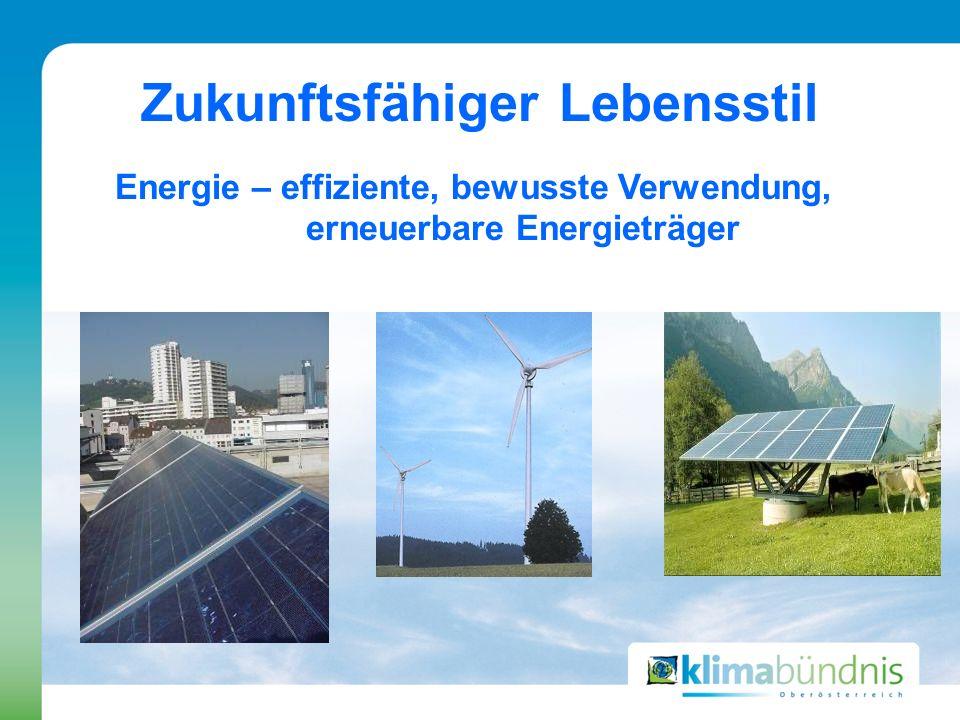 Zukunftsfähiger Lebensstil Energie – effiziente, bewusste Verwendung, erneuerbare Energieträger