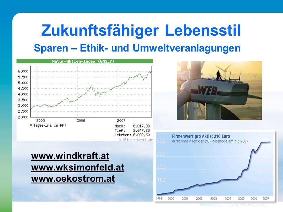Zukunftsfähiger Lebensstil Sparen – Ethik- und Umweltveranlagungen www.windkraft.at www.wksimonfeld.at www.oekostrom.at