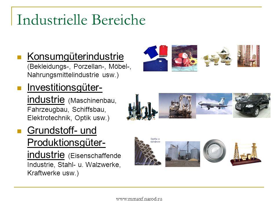 www.mmaxf.narod.ru Industrielle Bereiche Konsumgüterindustrie (Bekleidungs-, Porzellan-, Möbel-, Nahrungsmittelindustrie usw.) Investitionsgüter- indu