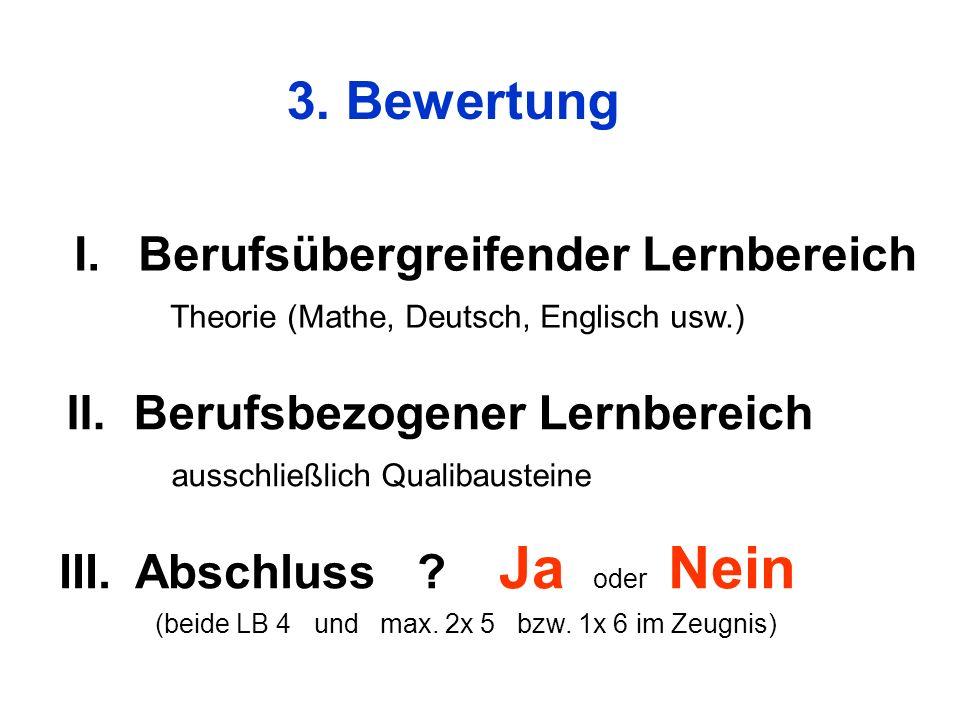 3. Bewertung III. Abschluss ? Ja oder Nein (beide LB 4 und max. 2x 5 bzw. 1x 6 im Zeugnis) I.Berufsübergreifender Lernbereich Theorie (Mathe, Deutsch,