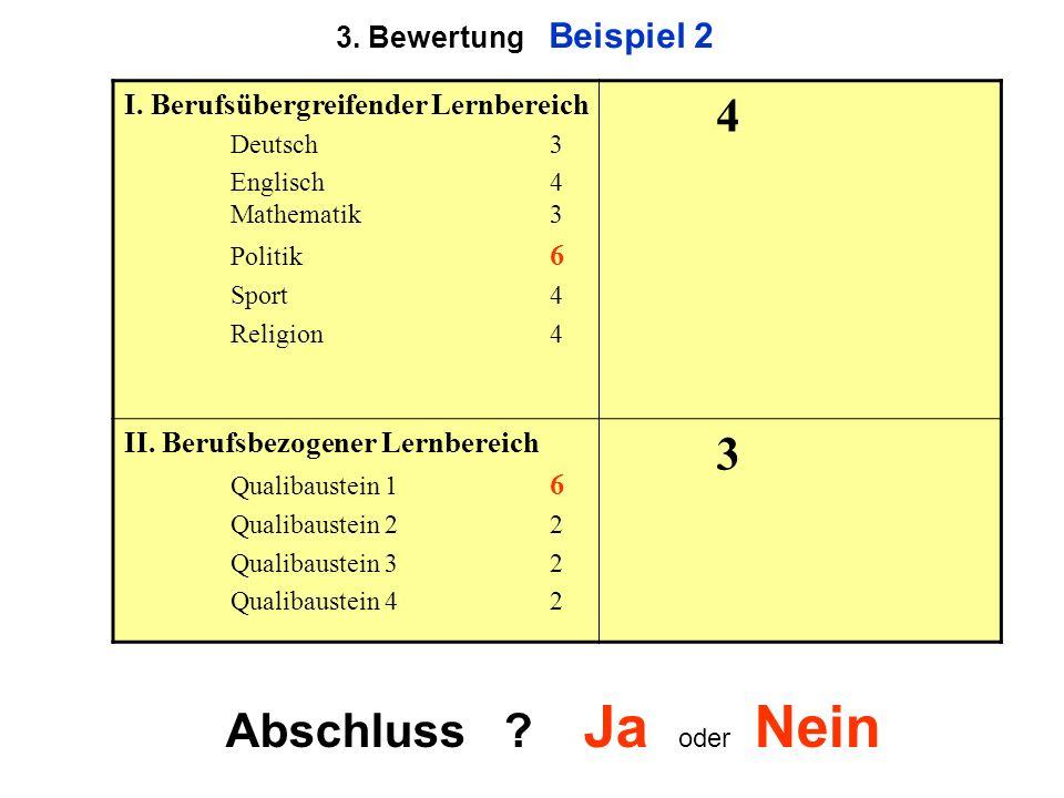 3. Bewertung Beispiel 2 I. Berufsübergreifender Lernbereich Deutsch3 Englisch 4 Mathematik3 Politik 6 Sport4 Religion4 4 II. Berufsbezogener Lernberei