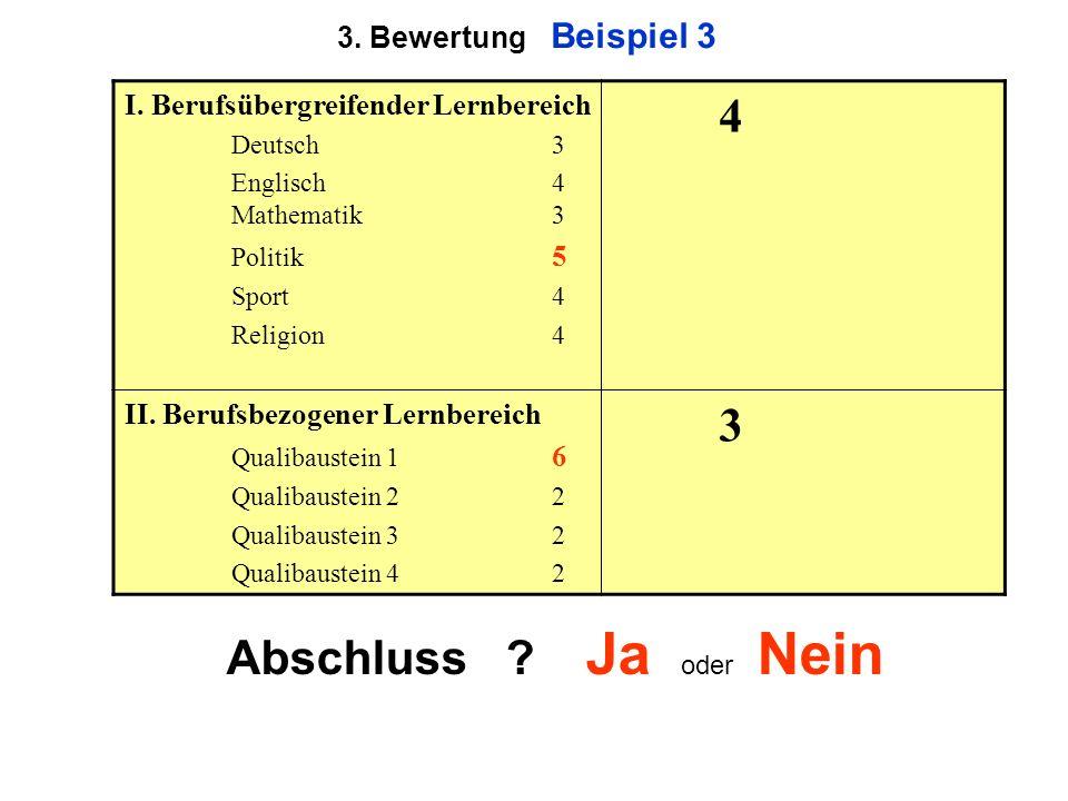 3. Bewertung Beispiel 3 I. Berufsübergreifender Lernbereich Deutsch3 Englisch 4 Mathematik3 Politik 5 Sport4 Religion4 4 II. Berufsbezogener Lernberei
