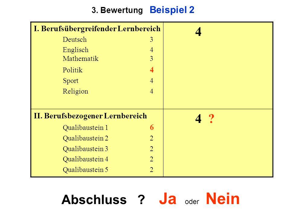 3. Bewertung Beispiel 2 I. Berufsübergreifender Lernbereich Deutsch3 Englisch 4 Mathematik3 Politik 4 Sport4 Religion4 4 II. Berufsbezogener Lernberei