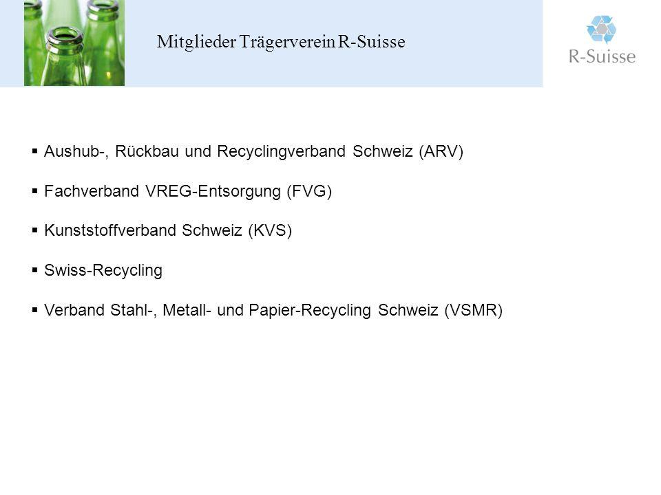 Mitglieder Trägerverein R-Suisse Aushub-, Rückbau und Recyclingverband Schweiz (ARV) Fachverband VREG-Entsorgung (FVG) Kunststoffverband Schweiz (KVS) Swiss-Recycling Verband Stahl-, Metall- und Papier-Recycling Schweiz (VSMR)
