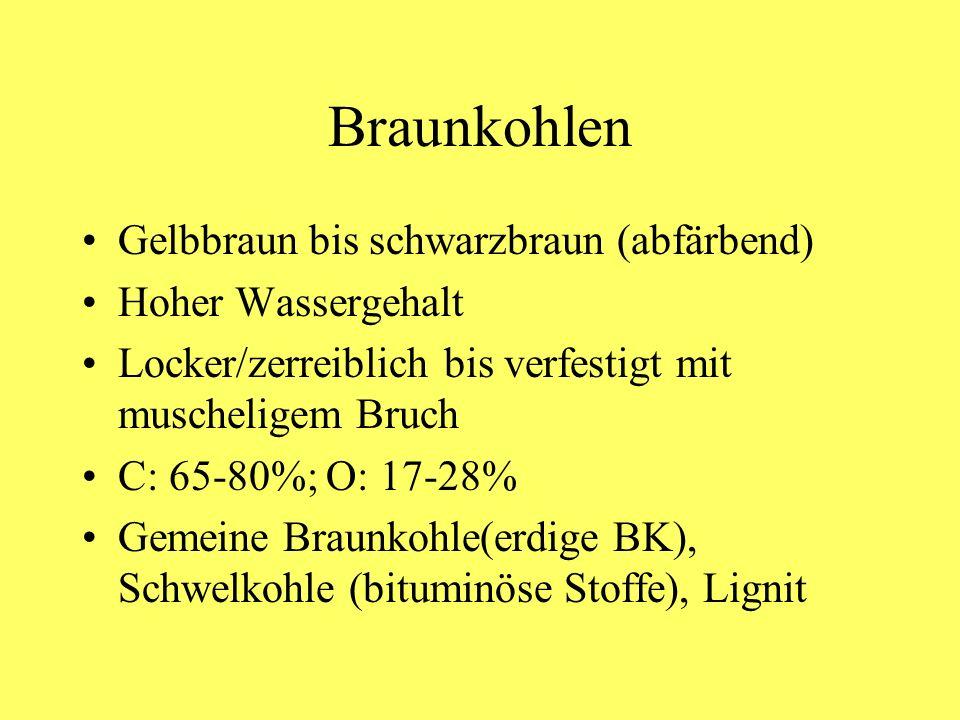 Braunkohlen Gelbbraun bis schwarzbraun (abfärbend) Hoher Wassergehalt Locker/zerreiblich bis verfestigt mit muscheligem Bruch C: 65-80%; O: 17-28% Gem