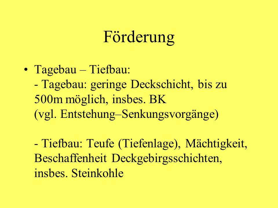 Förderung Tagebau – Tiefbau: - Tagebau: geringe Deckschicht, bis zu 500m möglich, insbes. BK (vgl. Entstehung–Senkungsvorgänge) - Tiefbau: Teufe (Tief