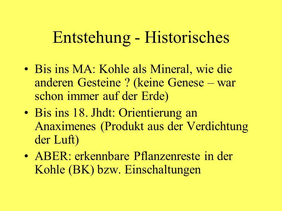 Entstehung - Historisches Bis ins MA: Kohle als Mineral, wie die anderen Gesteine ? (keine Genese – war schon immer auf der Erde) Bis ins 18. Jhdt: Or