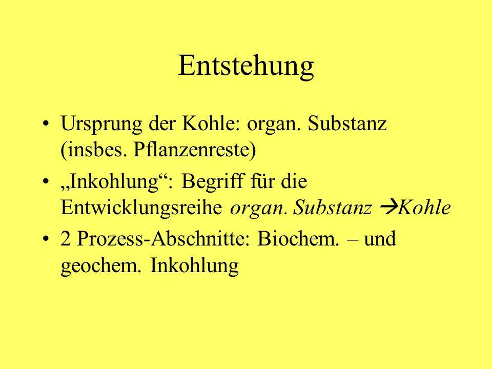 Entstehung Ursprung der Kohle: organ. Substanz (insbes. Pflanzenreste) Inkohlung: Begriff für die Entwicklungsreihe organ. Substanz Kohle 2 Prozess-Ab