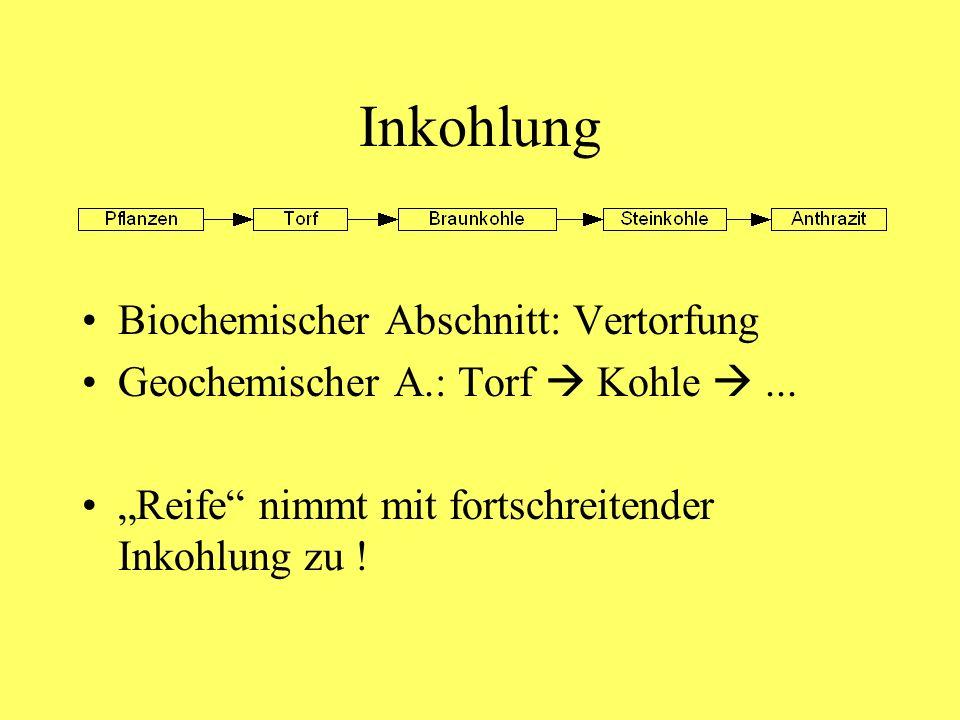 Inkohlung Biochemischer Abschnitt: Vertorfung Geochemischer A.: Torf Kohle... Reife nimmt mit fortschreitender Inkohlung zu !