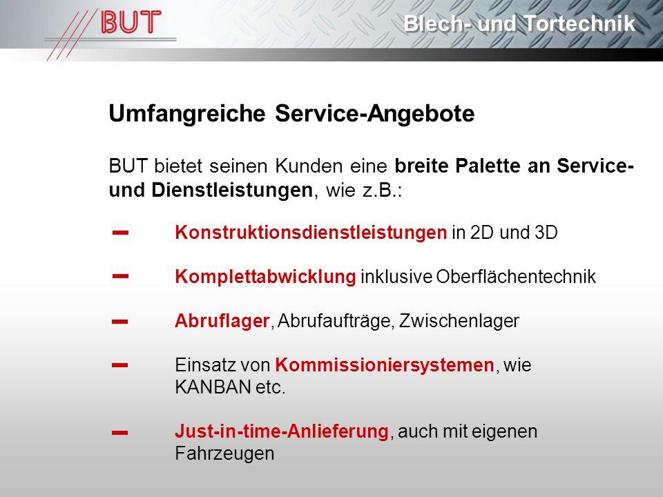 Blech- und Tortechnik Umfangreiche Service-Angebote BUT bietet seinen Kunden eine breite Palette an Service- und Dienstleistungen, wie z.B.: Konstrukt