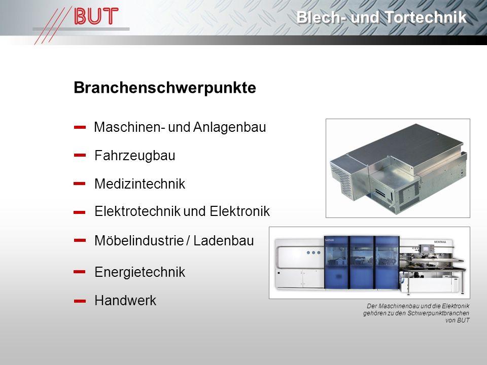 Blech- und Tortechnik Branchenschwerpunkte Maschinen- und Anlagenbau Fahrzeugbau Medizintechnik Elektrotechnik und Elektronik Möbelindustrie / Ladenba