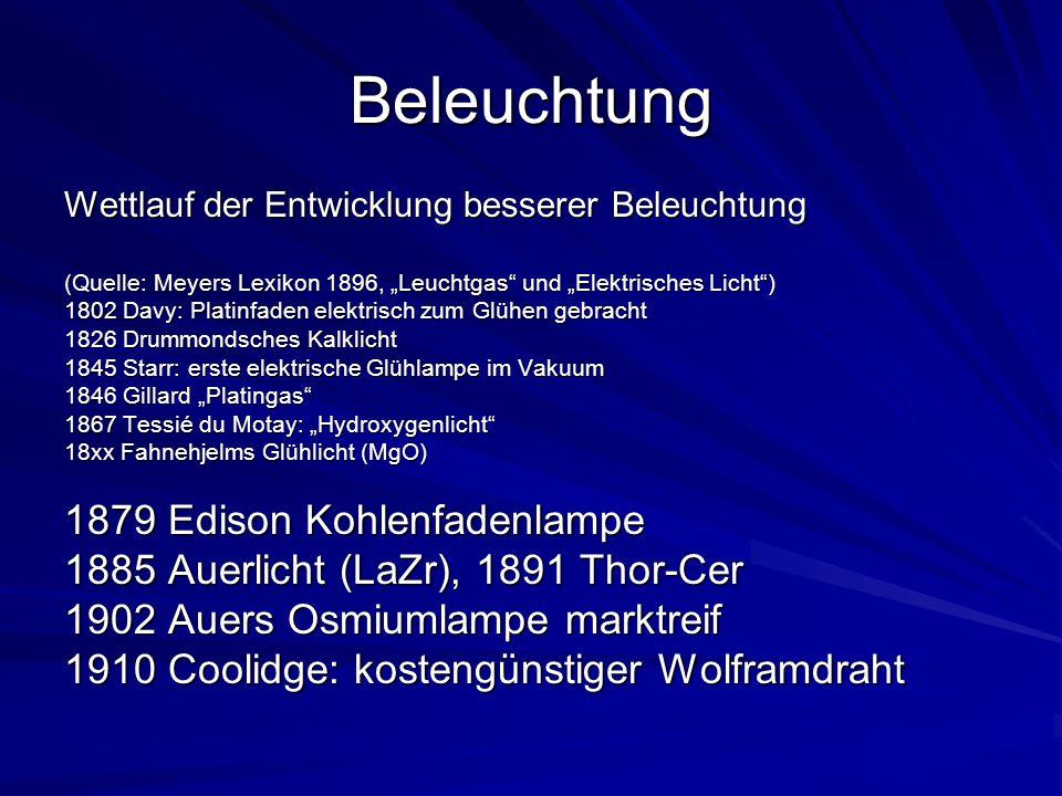 Beleuchtung Wettlauf der Entwicklung besserer Beleuchtung (Quelle: Meyers Lexikon 1896, Leuchtgas und Elektrisches Licht) 1802 Davy: Platinfaden elekt