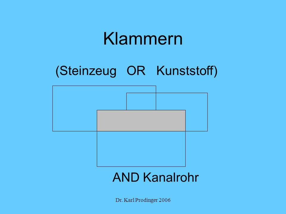 Dr. Karl Prodinger 2006 Klammern (Steinzeug OR Kunststoff) AND Kanalrohr