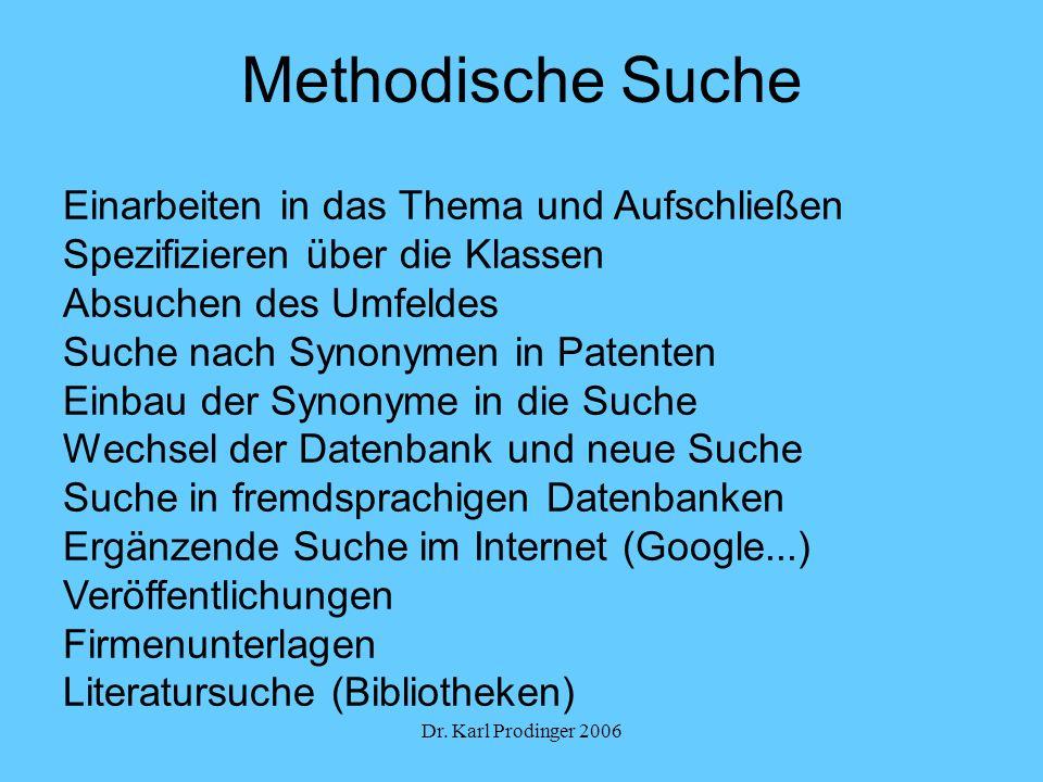 Dr. Karl Prodinger 2006 Methodische Suche Einarbeiten in das Thema und Aufschließen Spezifizieren über die Klassen Absuchen des Umfeldes Suche nach Sy