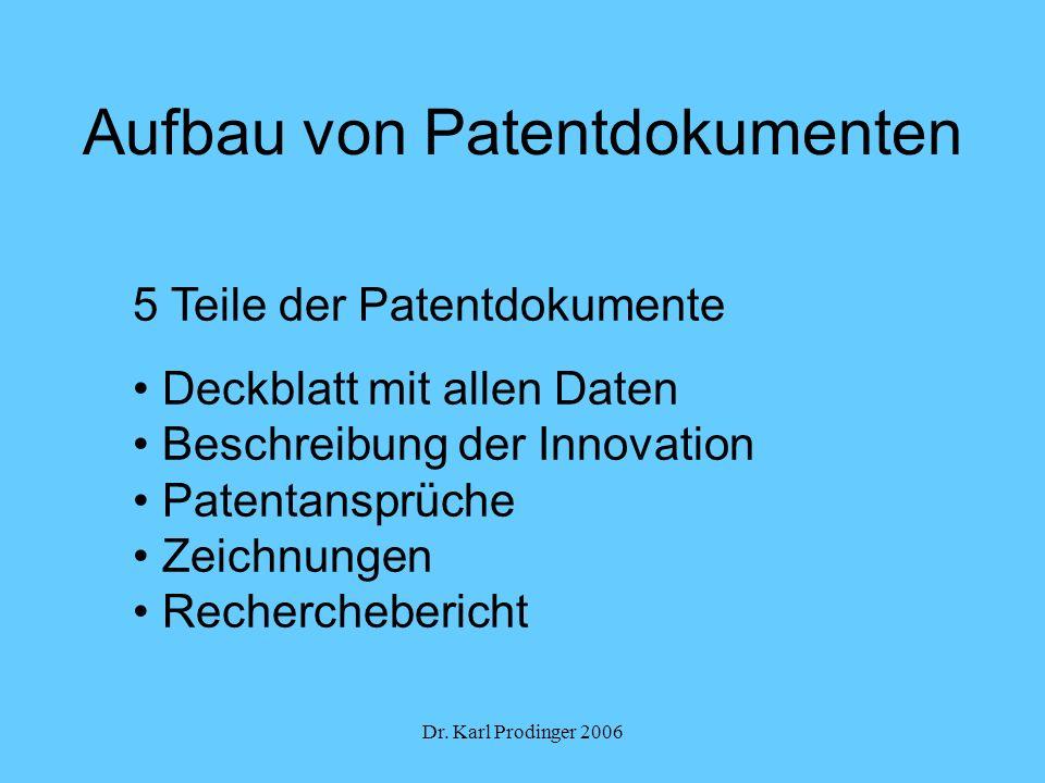 Dr. Karl Prodinger 2006 Aufbau von Patentdokumenten 5 Teile der Patentdokumente Deckblatt mit allen Daten Beschreibung der Innovation Patentansprüche