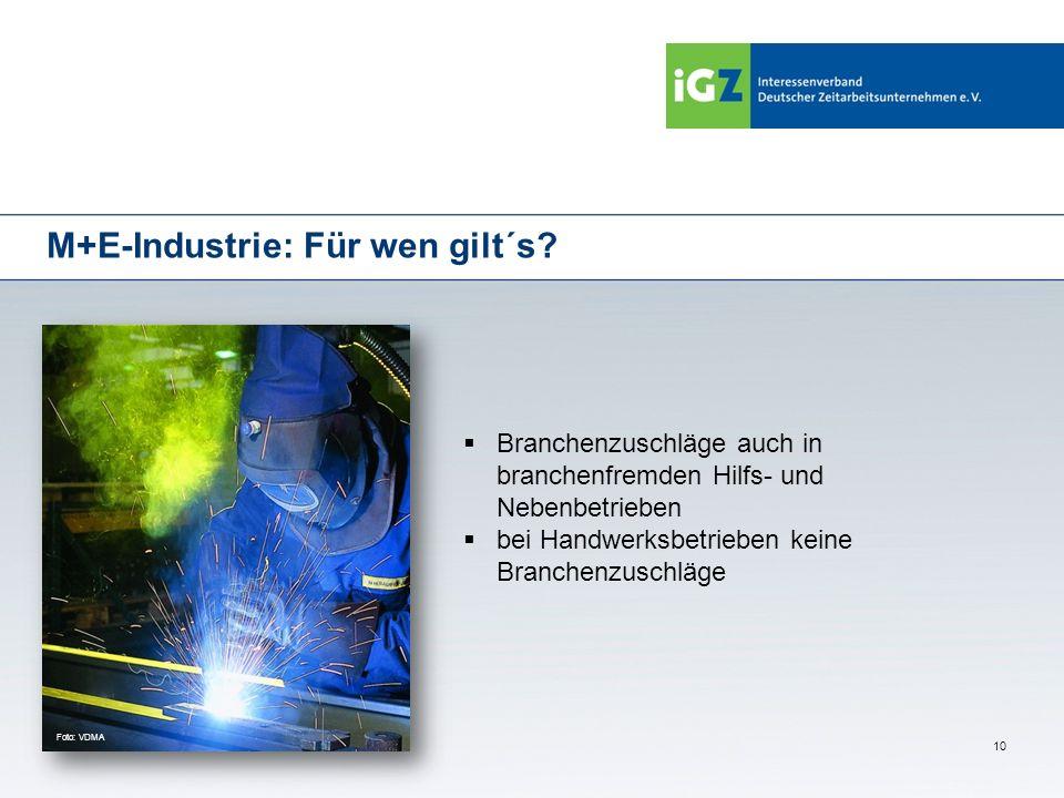 10 M+E-Industrie: Für wen gilt´s? Branchenzuschläge auch in branchenfremden Hilfs- und Nebenbetrieben bei Handwerksbetrieben keine Branchenzuschläge F