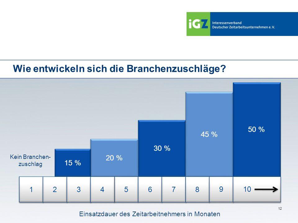 12 Wie entwickeln sich die Branchenzuschläge? 30 % 20 % 45 % 50 % 15 % 1 1 Einsatzdauer des Zeitarbeitnehmers in Monaten 2 2 3 3 5 5 4 4 6 6 7 7 8 8 9