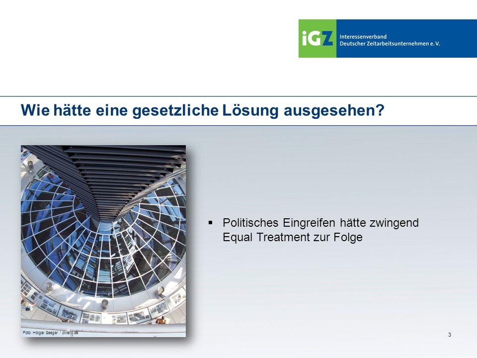 3 Wie hätte eine gesetzliche Lösung ausgesehen? Politisches Eingreifen hätte zwingend Equal Treatment zur Folge Foto: Holger Seeger / pixelio.de