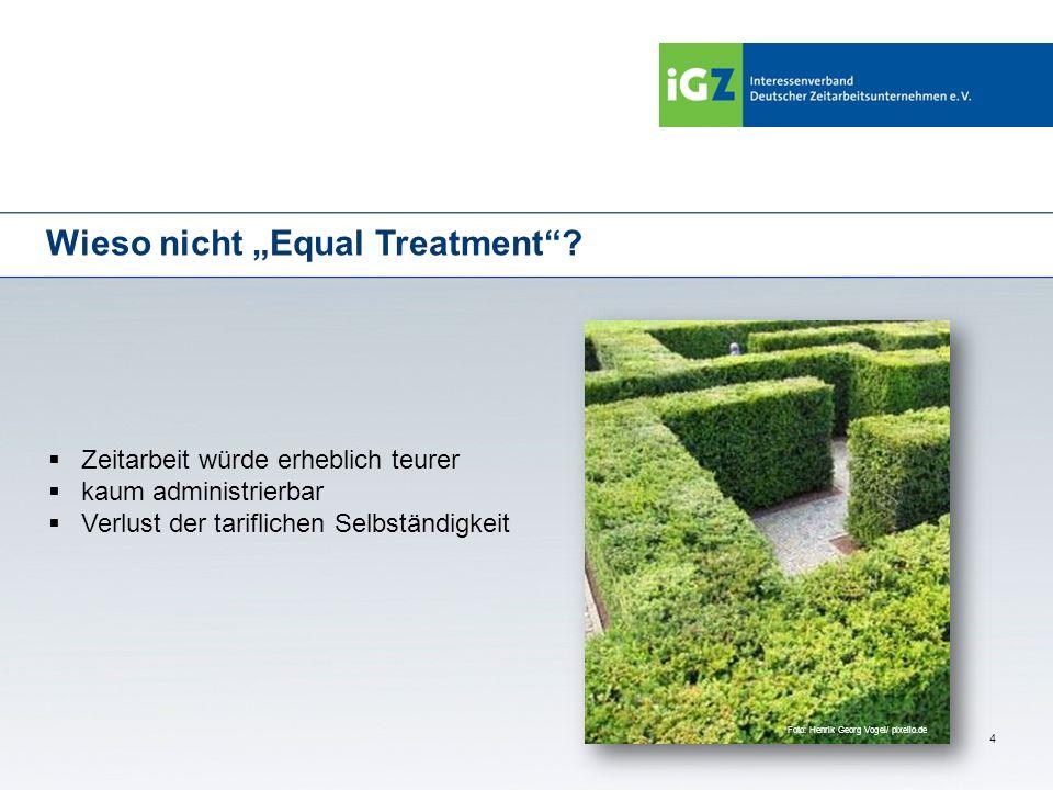 4 Wieso nicht Equal Treatment? Zeitarbeit würde erheblich teurer kaum administrierbar Verlust der tariflichen Selbständigkeit Foto: Henrik Georg Vogel