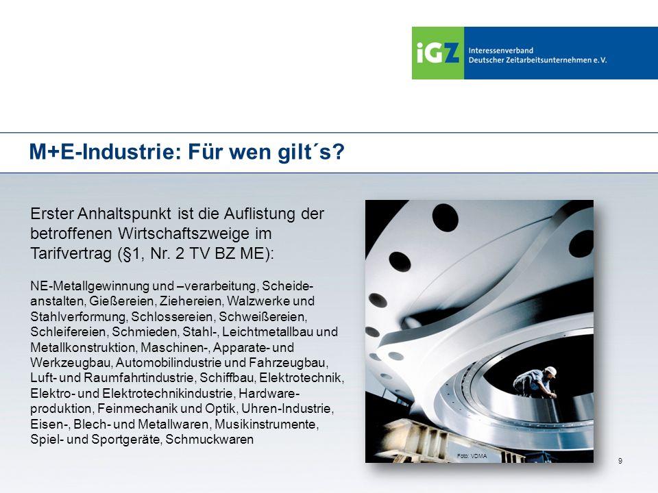 9 M+E-Industrie: Für wen gilt´s? Erster Anhaltspunkt ist die Auflistung der betroffenen Wirtschaftszweige im Tarifvertrag (§1, Nr. 2 TV BZ ME): NE-Met