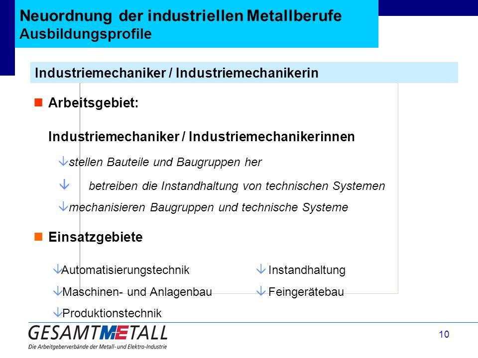 10 Neuordnung der industriellen Metallberufe Ausbildungsprofile Industriemechaniker / Industriemechanikerin Arbeitsgebiet: Industriemechaniker / Indus