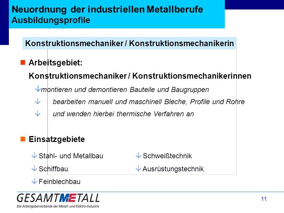 11 Neuordnung der industriellen Metallberufe Ausbildungsprofile Konstruktionsmechaniker / Konstruktionsmechanikerin â Stahl- und Metallbau â Schiffbau