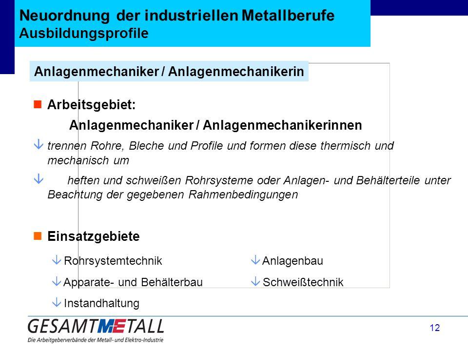 12 Neuordnung der industriellen Metallberufe Ausbildungsprofile Anlagenmechaniker / Anlagenmechanikerin â Rohrsystemtechnik â Apparate- und Behälterba