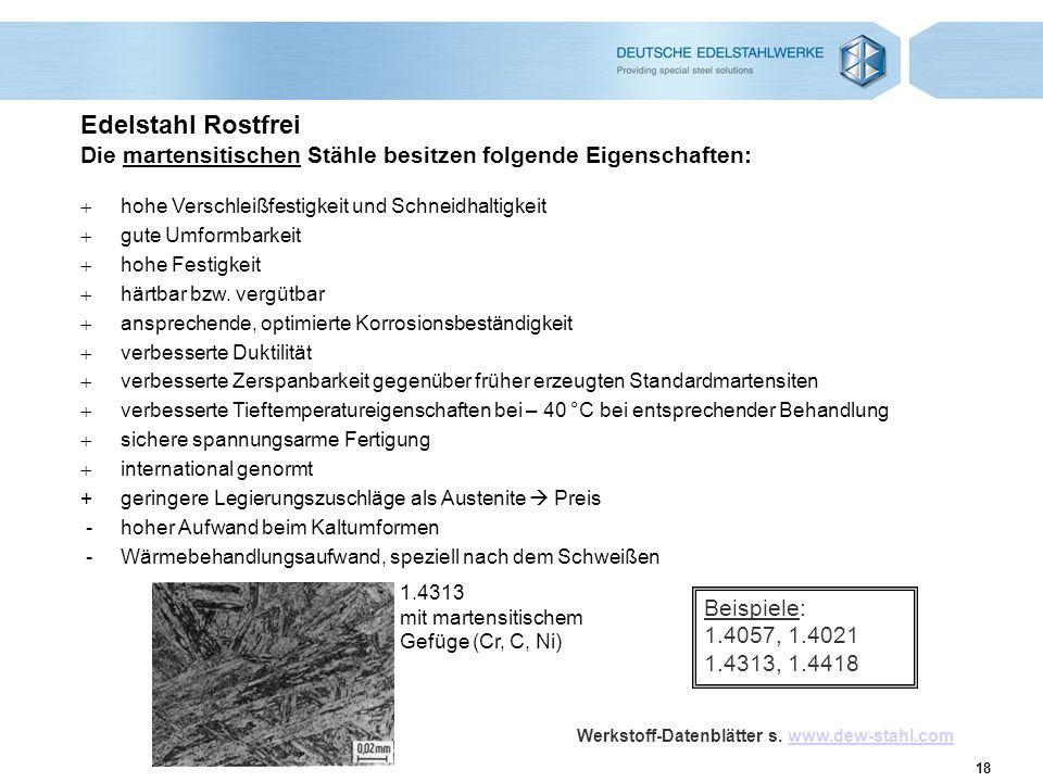 18 Edelstahl Rostfrei Die martensitischen Stähle besitzen folgende Eigenschaften: 1.4313 mit martensitischem Gefüge (Cr, C, Ni) hohe Verschleißfestigk