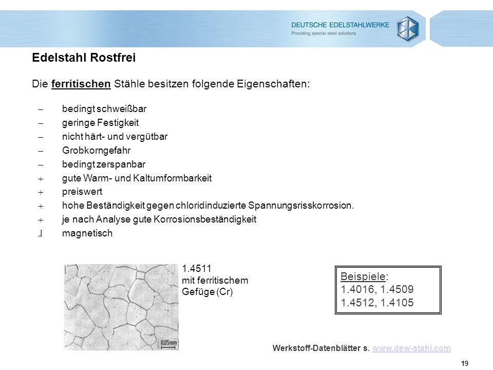 19 Edelstahl Rostfrei Die ferritischen Stähle besitzen folgende Eigenschaften: 1.4511 mit ferritischem Gefüge (Cr) bedingt schweißbar geringe Festigke