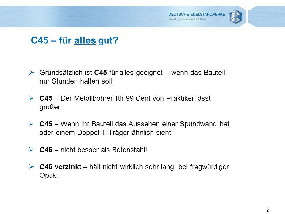2 C45 – für alles gut? Grundsätzlich ist C45 für alles geeignet – wenn das Bauteil nur Stunden halten soll! C45 – Der Metallbohrer für 99 Cent von Pra