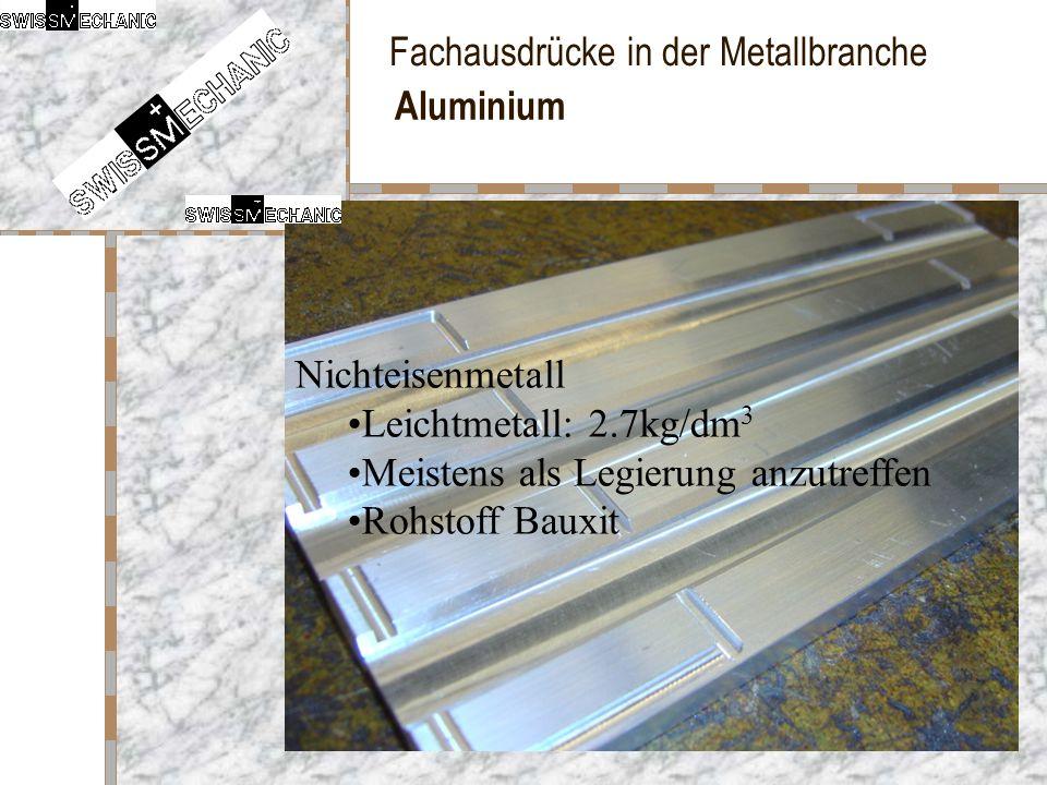 Fachausdrücke in der Metallbranche Aluminium Nichteisenmetall Leichtmetall: 2.7kg/dm 3 Meistens als Legierung anzutreffen Rohstoff Bauxit
