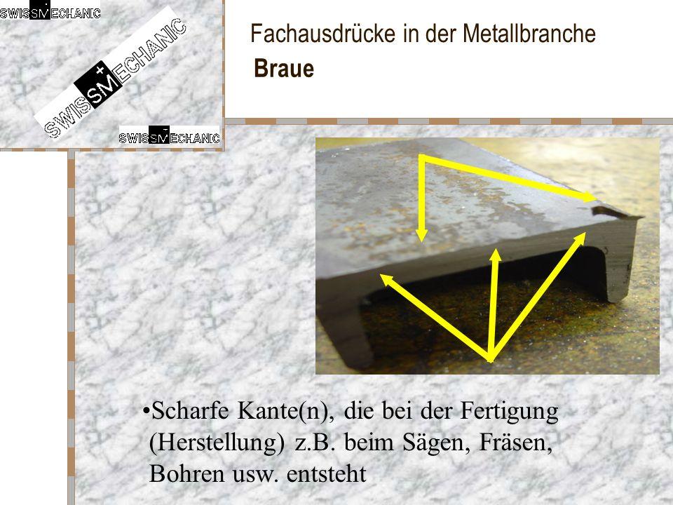 Fachausdrücke in der Metallbranche Braue Scharfe Kante(n), die bei der Fertigung (Herstellung) z.B. beim Sägen, Fräsen, Bohren usw. entsteht