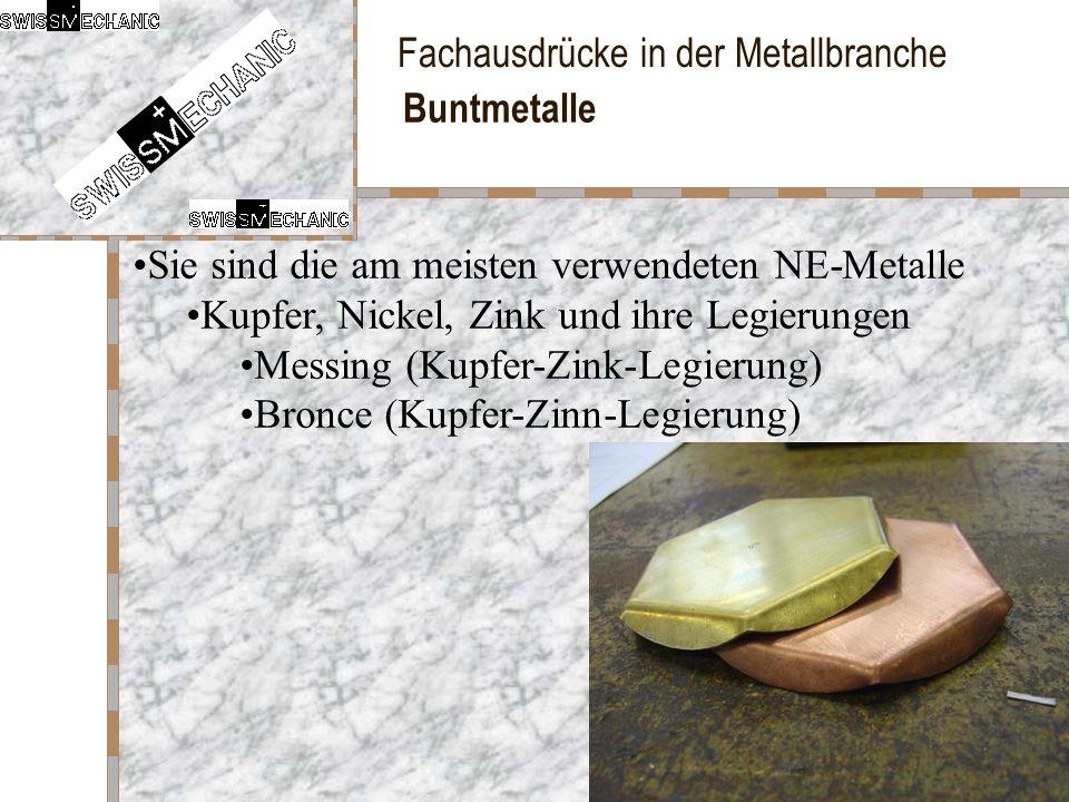 Fachausdrücke in der Metallbranche Buntmetalle Sie sind die am meisten verwendeten NE-Metalle Kupfer, Nickel, Zink und ihre Legierungen Messing (Kupfe