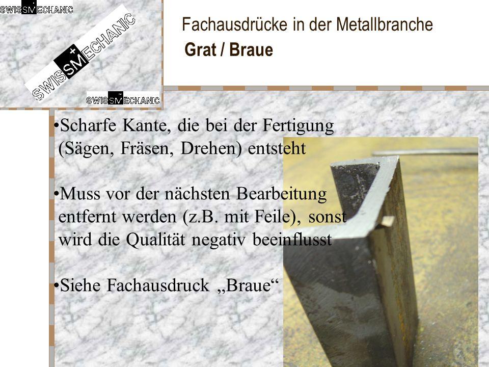 Fachausdrücke in der Metallbranche Grat / Braue Scharfe Kante, die bei der Fertigung (Sägen, Fräsen, Drehen) entsteht Muss vor der nächsten Bearbeitun