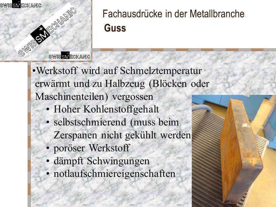 Fachausdrücke in der Metallbranche Guss Werkstoff wird auf Schmelztemperatur erwärmt und zu Halbzeug (Blöcken oder Maschinenteilen) vergossen Hoher Ko
