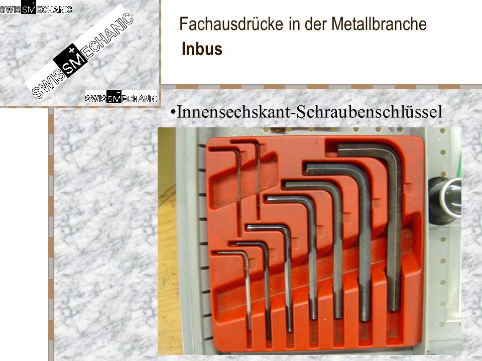 Fachausdrücke in der Metallbranche Inbus Innensechskant-Schraubenschlüssel