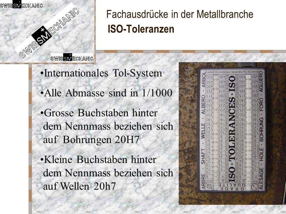 Fachausdrücke in der Metallbranche ISO-Toleranzen Internationales Tol-System Alle Abmasse sind in 1/1000 Grosse Buchstaben hinter dem Nennmass beziehe