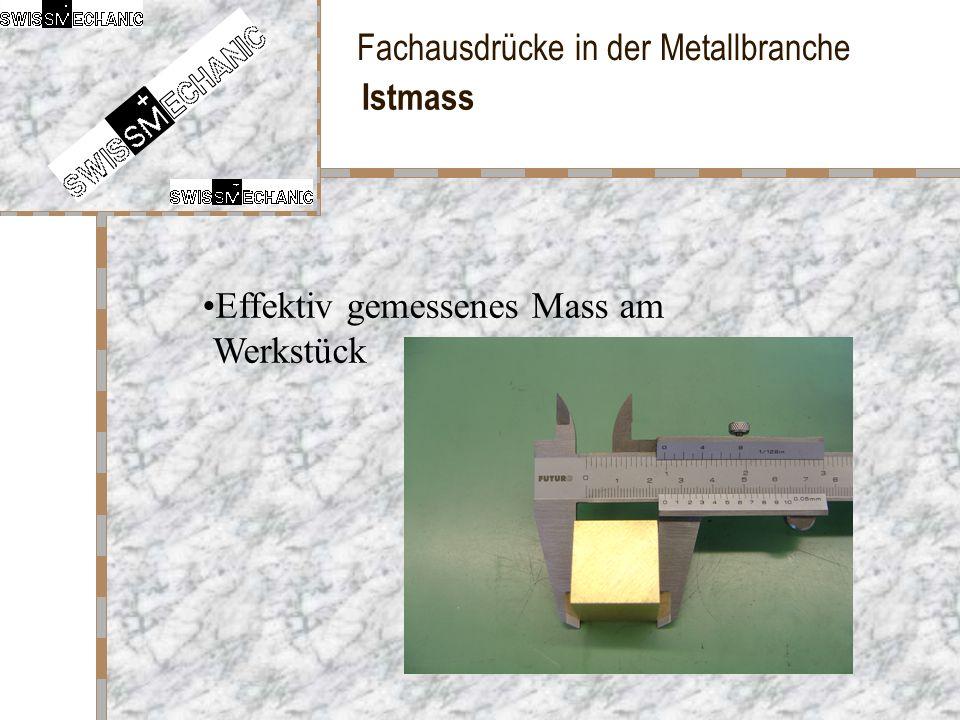 Fachausdrücke in der Metallbranche Istmass Effektiv gemessenes Mass am Werkstück
