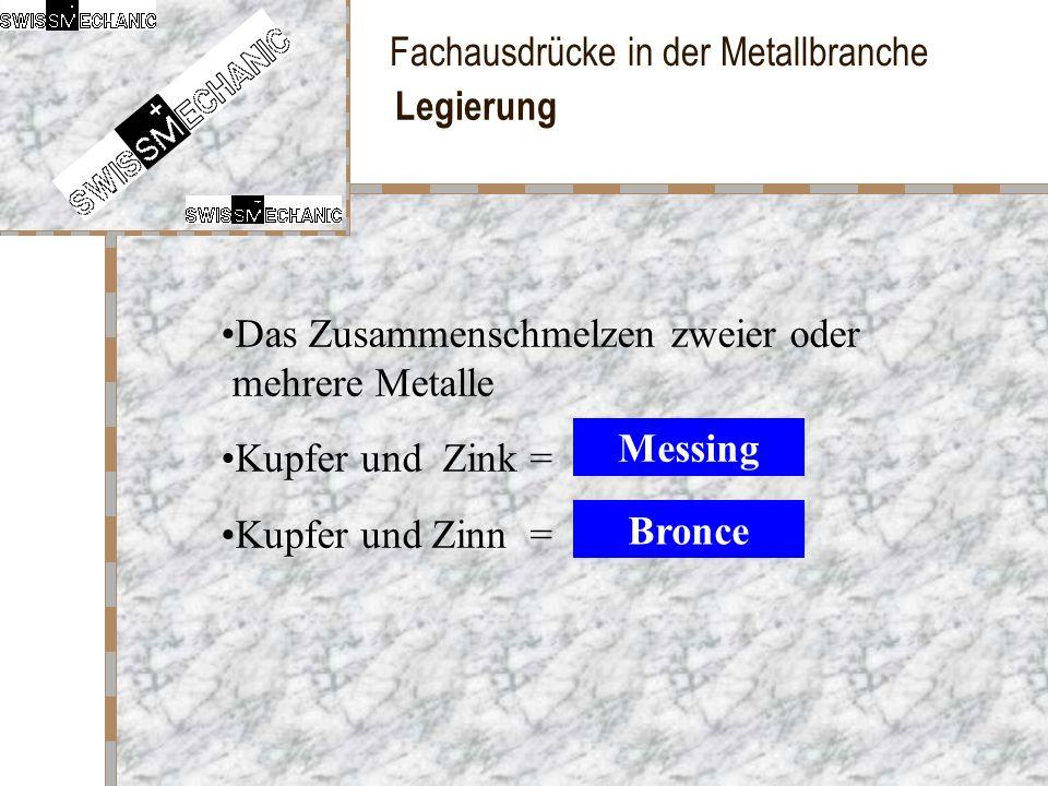 Fachausdrücke in der Metallbranche Legierung Das Zusammenschmelzen zweier oder mehrere Metalle Kupfer und Zink = Kupfer und Zinn = Messing Bronce