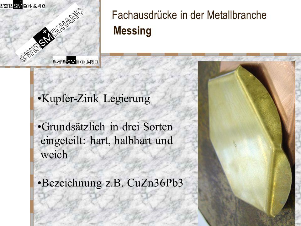 Fachausdrücke in der Metallbranche Messing Kupfer-Zink Legierung Grundsätzlich in drei Sorten eingeteilt: hart, halbhart und weich Bezeichnung z.B. Cu