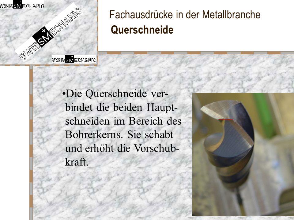 Fachausdrücke in der Metallbranche Querschneide Die Querschneide ver- bindet die beiden Haupt- schneiden im Bereich des Bohrerkerns. Sie schabt und er
