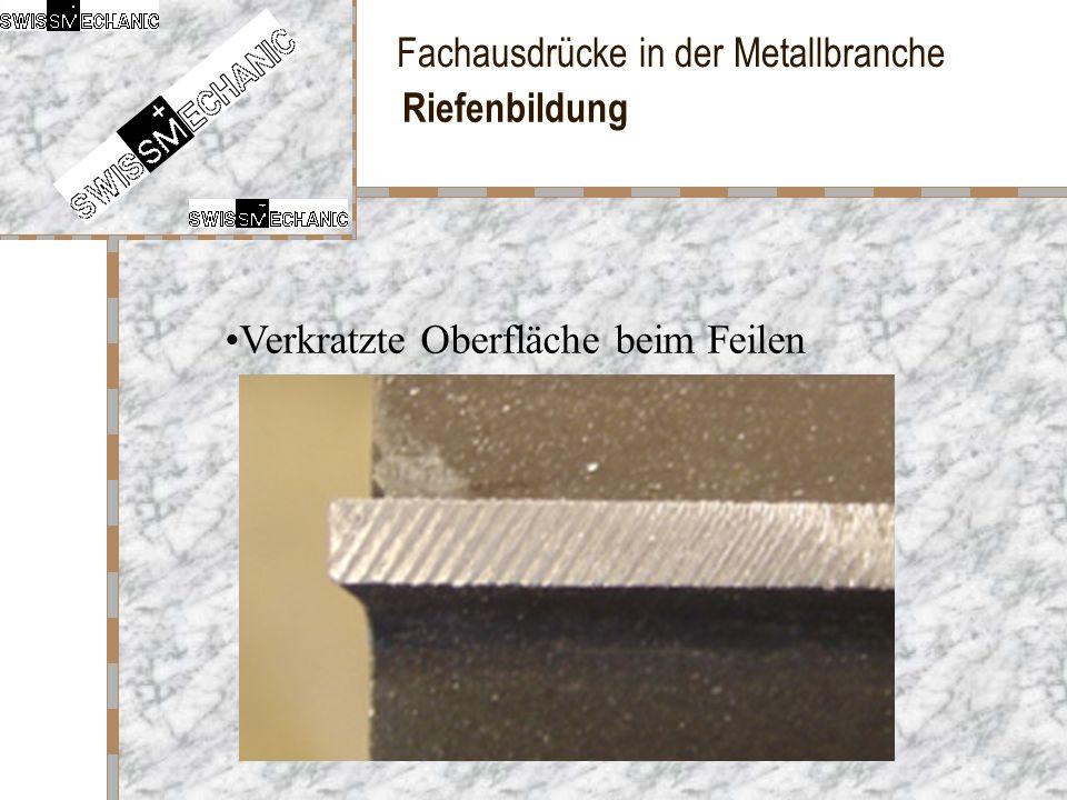Fachausdrücke in der Metallbranche Riefenbildung Verkratzte Oberfläche beim Feilen