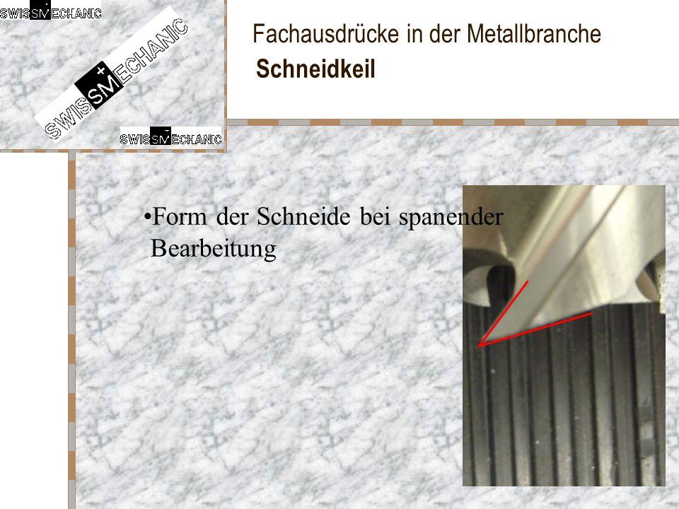 Fachausdrücke in der Metallbranche Schneidkeil Form der Schneide bei spanender Bearbeitung