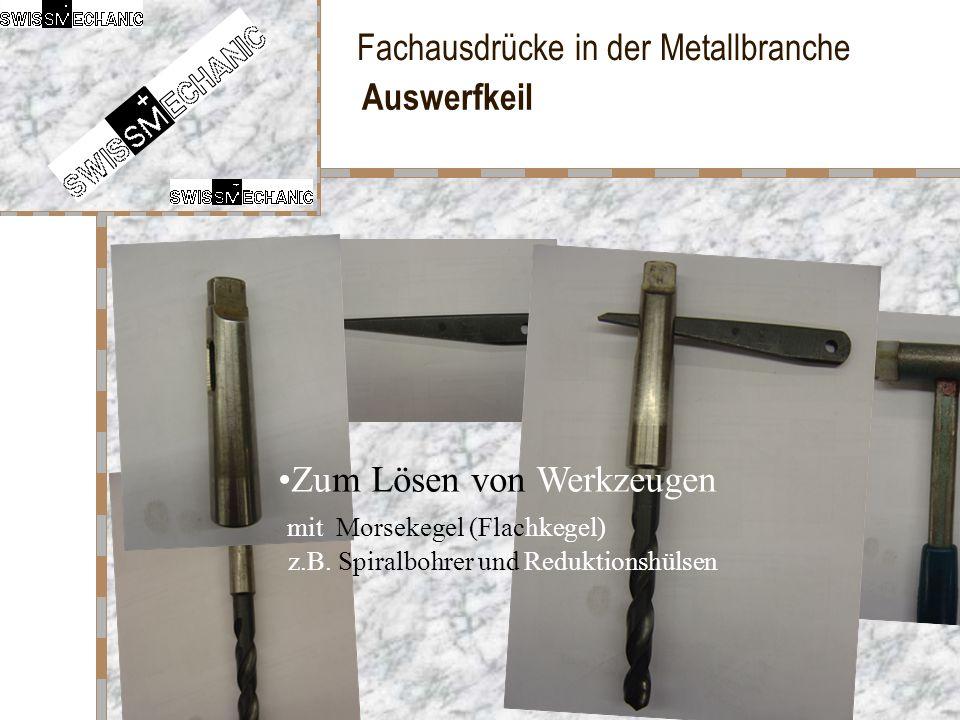 Fachausdrücke in der Metallbranche Auswerfkeil Zum Lösen von Werkzeugen mit Morsekegel (Flachkegel) z.B. Spiralbohrer und Reduktionshülsen
