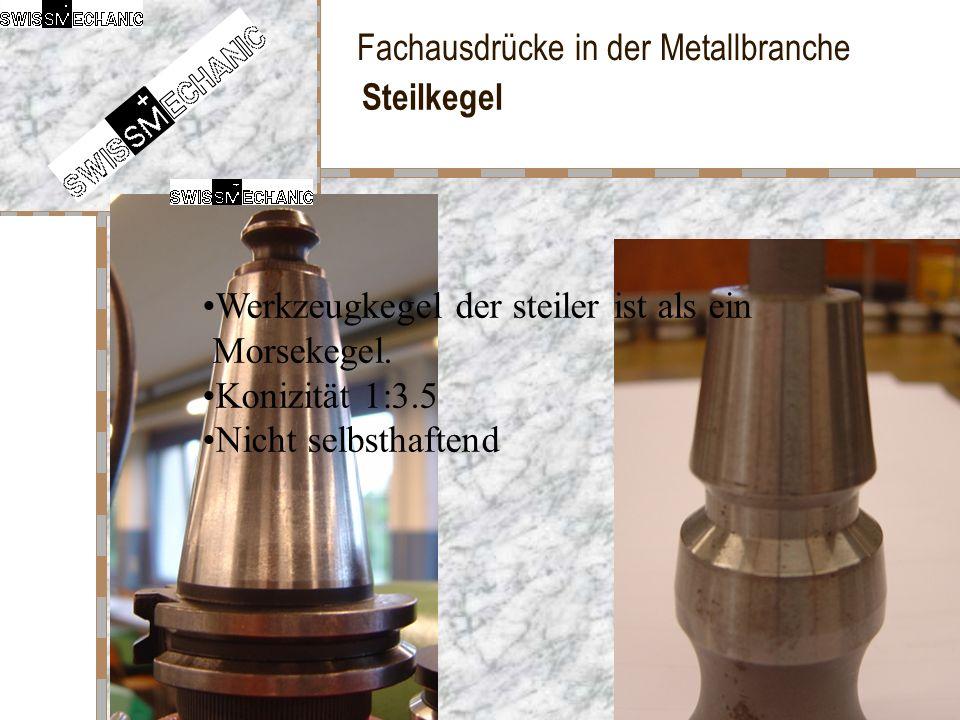 Fachausdrücke in der Metallbranche Steilkegel Werkzeugkegel der steiler ist als ein Morsekegel. Konizität 1:3.5 Nicht selbsthaftend