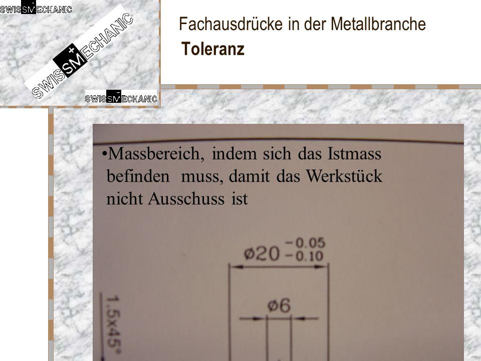 Fachausdrücke in der Metallbranche Toleranz Massbereich, indem sich das Istmass befinden muss, damit das Werkstück nicht Ausschuss ist
